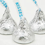 Hershey's® Kisses® creamy milk chocolate kisses in silver foiled wrapper