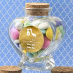 Personalized Metallics Collection heart shaped glass jars