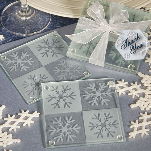 Snowflake Glass Photo Coasters