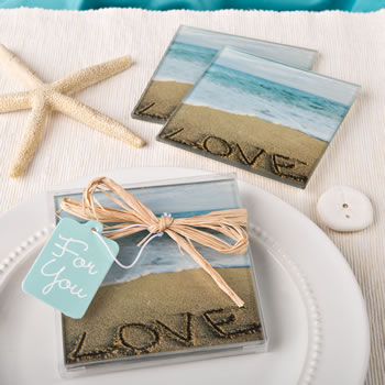 Beach Love themed set of 2 glass coasters from fashioncraft