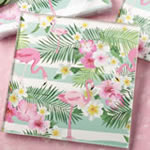 Tropical Flamingo design set of two glass coasters