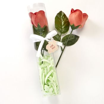 Long stem red rose with green soap grass from fashioncraft