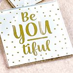 Be-You-tiful set of 2  glass coasters