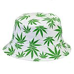 bucket hat - white hat with green leaves