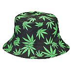 bucket hat - black hat with green leaves