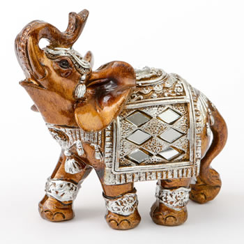 Mahogany with Silver accents elephant - small size