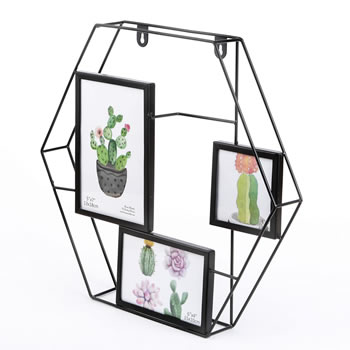 Hexagonal wire collage frame - 3 openings