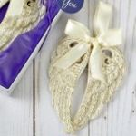 Ivory and Gold Angel wings ornament