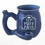 Sip Puff Pass mug - Blue with white letters