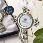 pewter silver metal loving memory cross frame ornament