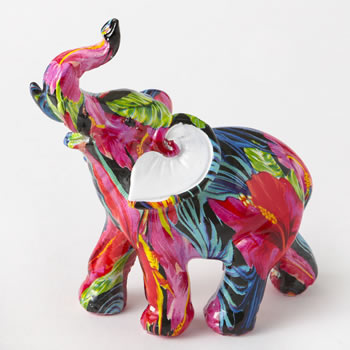 Tropical floral elephant - small size