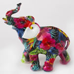 Tropical floral elephant - medium size