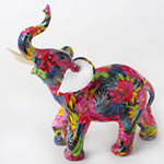 Tropical floral elephant - large size