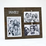 triple wood Family frame - Holds one 5x7 and two 4x6 photos