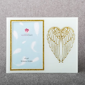 gold angel wings on white 4 x 6 frame