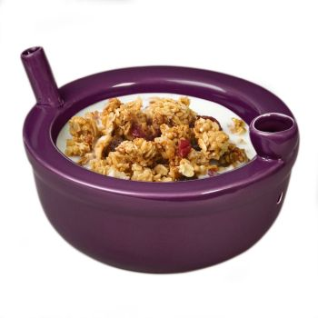 Novelty roast and toast Cereal bowl -  plum color
