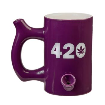 420 Mug - Plum Mug with White 420 design