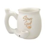 Stoner girl white with gold imprint mug - roast and toast mug