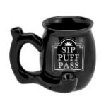 Sip Puff Pass mug - black with white letters