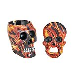 SKULL ASHTRAY AND OPENER SET - flame design