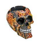 LARGE SKULL ASHTRAY - flame design