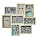 Wood puzzle collage frame - 8 OPENINGS - light woods with white