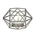 Silver hexagon shaped geometric design tea light / votive candle holder
