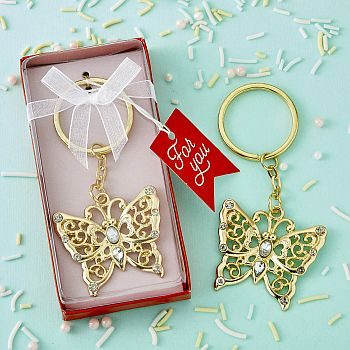 Luxurious gold butterfly design metal key chain
