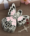 Pink and pewter color angel design trinket box