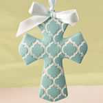 Blue Hampton link design Cross Ornament