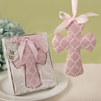 Pink Hampton link design Cross Ornament from fashioncraft