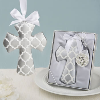 Silver Hampton link design Cross Ornament from fashioncraft