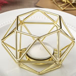Gold hexagon shaped geometric design tea light / votive candle holder