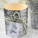 Silver beaded bling  candle votive