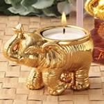 Good Fortune design gold elephant candle holder