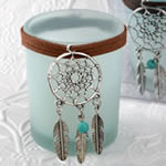 Dream catcher pale blue candle holder