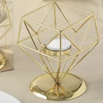 Gold geometric design tea light / votive candle holder