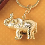 Gold metal 3D Good Luck elephant key chain