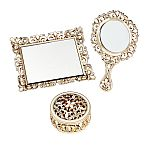 Vanity set - 3 piece set - covered box, hand mirror, mirror tray - champagne Gold