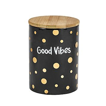 Deluxe canister - stash jar - BLACK CANISTER - GOLD Polka DOTS - GOOD VIBES