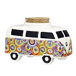 VINTAGE BUS STASH JAR - colorful flower burst design