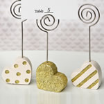 Heart shaped placecard holders, three assorted styles in gold and pearl white