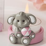 cute baby elephant with pink design tea light holder