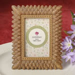 Brushed Gold leaf design place card frame / photo frame from fashioncraft