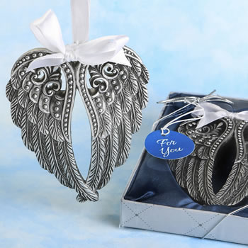 16 96 Silver Angel Wings Design Ornament Religious Wedding Baptism