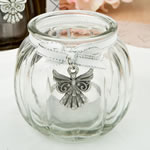 Angel themed clear glass round globe candle holder from fashioncraft