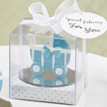 Blue baby carriage / stroller design favor with a round glass mirror bottom base
