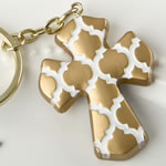 Gold Cross key chain with a Hampton link design from fashioncraft