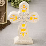 Glowing Ivory color standing cross statue with Led Light