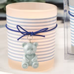Blue teddy bear themed frosted glass votive from fashioncraft
